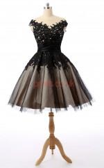 Black Lace Organza Princess Off The Shoulder Short Sleeve Cocktail Dress(JT4-JMD0013)