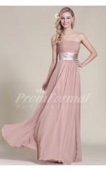 A-line Strapless Long Nude Pink 100D Chiffon Evening Dresses(PRJT04-1819)