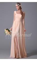A-line One Shoulder Long Pearl Pink 100D Chiffon Evening Dresses(PRJT04-1821)