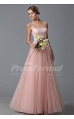 A-line Illusion Long Blushing Pink Lace , Tulle Prom Dresses(PRJT04-1841)