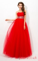 Red Tulle Strapless Floor-length Princess Quincenera Dress(JT2032)