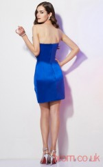Light Royal Blue Stretch Satin Sheath Short Strapless Graduation Dress(JT2164)