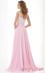 Pink Lace Chiffon A-line Floor-length Illusion Graduation Dress(JT2206)