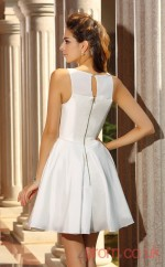 White Taffeta A-line Mini Jewel Graduation Dress(JT2285)