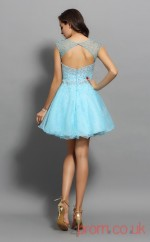 Light Blue Tulle A-line Mini Illusion Bateau Short Sleeve  Graduation Dress(JT2307)