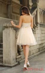 Beige Tulle A-line Mini Strapless Graduation Dress(JT2308)