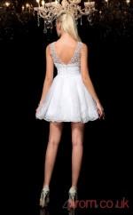 White Tulle Lace A-line Mini Bateau Graduation Dress(JT2335)