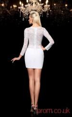 White Lace Stretch Satin Sheath Mini Jewel Long Sleeve  Graduation Dress(JT2401)