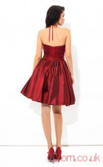 Burgundy Taffeta A-line Mini Halter Graduation Dress(JT2451)