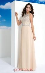 Champagne Satin Chiffon A-line Scoop Floor-length Evening Dress(JT2469)