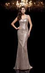 Silver Sequined Trumpet/Mermaid Straps Floor-length Formal Prom Dress(JT2472)