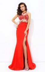 Orange Red Chiffon Trumpet/Mermaid Illusion Floor-length Evening Dress(JT2477)