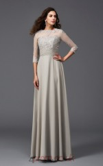 Silver Chiffon A-line 3/4 Length Sleeve Scalloped , Illusion Floor-length Formal Prom Dress(JT2499)