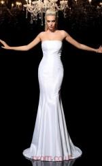 White Taffeta Strapless Sweep Train Mermaid Wedding Formal Dress(JT2505)