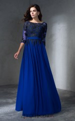 Royal Blue Chiffon Bateau Half Sleeve Floor-length A-line Wedding Formal Dress(JT2507)