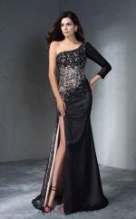 Side Split Black Lace Chiffon One Shoulder 3/4 Length Sleeve Floor-length Mermaid Wedding Formal Dress(JT2508)