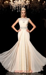 Blushing Pink Chiffon Bateau Short Sleeve Floor-length Mermaid Evening Dress(JT2509)
