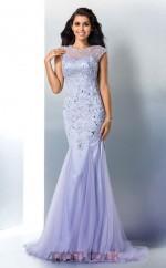 Lavender Lace Tulle Illusion Short Sleeve Floor-length Trumpet Prom Dress(JT2522)