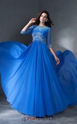 Light Royal Blue Chiffon Bateau Half Sleeve Floor-length A-line Prom Dress(JT2535)