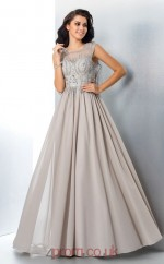 Silver Chiffon Illusion Floor-length A-line Prom Dress(JT2543)