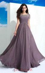 Dim Gray Chiffon Bateau Short Sleeve Floor-length A-line Prom Dress(JT2544)