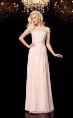 Blushing Pink Chiffon Illusion Short Sleeve Floor-length A-line Prom Dress(JT2550)
