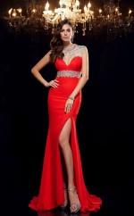Side Split Red Chiffon Illusion Short Sleeve Sweep Train Mermaid Evening Dress(JT2566)