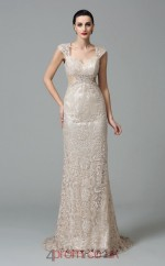 Beige Lace V-neck Short Sleeve Floor-length Mermaid Prom Dress(JT2572)