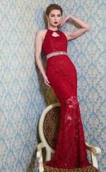 Burgundy Lace Bateau Floor-length Mermaid Evening Dress(JT2590)