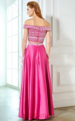 A-line Charmeuse Fuchsia Off The Shoulder Short Sleeve Floor-length Two Piece Prom Dress(JT2601)