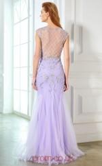 Trumpet/Mermaid Tulle Lavender Bateau Short Sleeve Floor-length Evening Dress(JT2621)