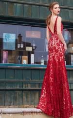 Trumpet/Mermaid Lace Burgundy V-neck Long Prom Dress(JT2641)
