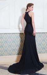 Trumpet/Mermaid Matte Satin Black Halter Asymmetrical Formal Prom Dress with Split Side(JT2647)
