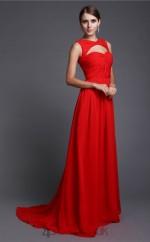 A-line Chiffon Red Jewel Floor-length Formal Prom Dress(JT2685)