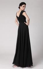A-line Chiffon Black V-neck Short Sleeve Floor-length Formal Prom Dress(JT2687)