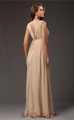 A-line Chiffon Champagne V-neck Floor-length Formal Prom Dress(JT2690)