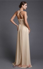 A-line Chiffon Champagne V-neck Floor-length Formal Prom Dress(JT2695)