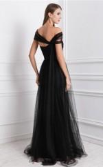 A-line Tulle Black Asymmetric Floor-length Formal Prom Dress(JT2699)