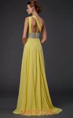 Yellow Chiffon A-line One Shoulder Floor-length Evening Dresses(JT2745)
