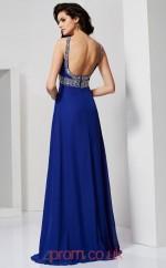 Light Royal Blue Chiffon A-line Halter Floor-length Evening Dresses(JT2762)
