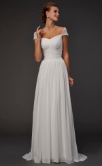 Ivory Tulle A-line Off The Shoulder Short Sleeve Floor-length Wedding Formal Dresses(JT2804)