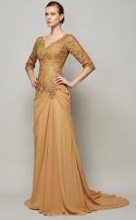 Blushing Pink Lace Chiffon Sheath/Column v-neck Half Sleeve Floor-length Bridesmaid Dresses(JT2827)