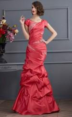 Red Taffeta Trumpet/Mermaid Jewel Short Sleeve Floor-length Bridesmaid Dresses(JT2844)