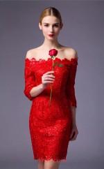 Ruby Lace Sheath Off The Shoulder Half Sleeve Short/Mini Prom Dress(JT3659)