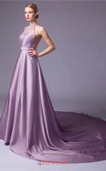Lilac Charmeuse A-line Halter Floor Length Prom Dress(JT3661)
