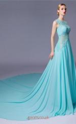 Light Blue Chiffon A-line Illusion Floor Length Prom Dress(JT3662)