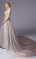 Silver Satin Chiffon A-line Halter Floor Length Prom Dress(JT3663)