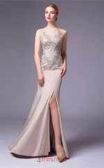 Silver Satin Chiffon Mermaid Illusion Floor Length Prom Dress With Split Side(JT3664)