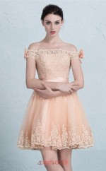 Champange Lace Tulle A-line Sweetheart Short Sleeve Short/Mini Prom Dress(JT3674)