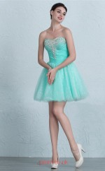 Light Blue Tulle A-line Sweetheart Short/Mini Prom Dress(JT3676)